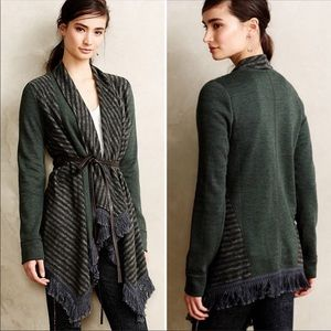 Anthropologie Elise Fringe Blanket Cardigan